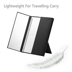 LESHP Portable 8 LED Lighted Makeup Mirror 3 Folder Mirror Compact LED  Cosmetic Mirror Tri