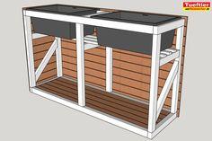 - Hochbeet mit kombinierter Müllbox selber bauen - DIY ProjektTueftler-u. Patio Diy, Backyard Patio Designs, Diy Terrasse, Design Jardin, Patio Interior, Diy Projects For Beginners, Diy Chicken Coop, Raised Beds, Wooden Diy