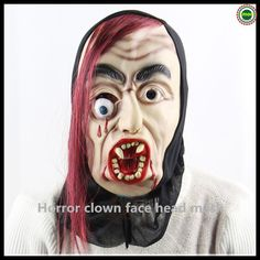 free shipping hot sale party cosplay soft latex with hair scary halloween mask full face horror