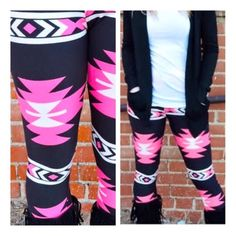 • Neon Aztec Leggings • These hot pink beauties are the perfect addition to your wardrobe! Soft micro-fiber material that shapes to your body- one size fits most. Very stretchy. 65% polyester, 35% cotton. Machine wash cold. PLEASE DO NOT purchase this listing. Comment your size below and I'll make a new listing for you! Jennifer's Chic Boutique Pants Leggings