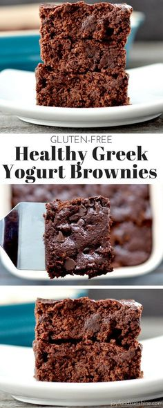 One bowl and 30 minutes is all it takes to make these Greek Yogurt Brownies!, Desserts, One bowl and 30 minutes is all it takes to make these Greek Yogurt Brownies! Gluten-free and so delicious no one ever suspects they& healthy! Healthy Deserts, Healthy Sweets, Healthy Dessert Recipes, Healthy Baking, Gourmet Recipes, Healthy Yogurt, Healthy Greek Recipes, Free Recipes, Easy Recipes