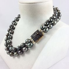Double Strands Tahitian Pearl Necklace with Champagne Diamonds Paved Box Clasp