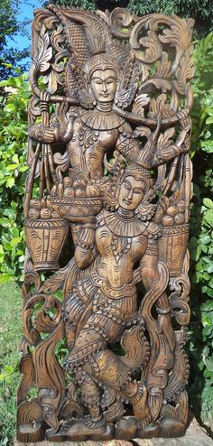 Carved wood panel teak buddha offerings asian wall by Teakdelight, $299.00