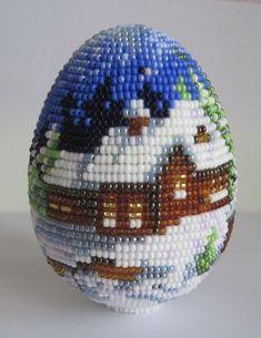 """Яйцо """"В Рождество""""   biser.info - всё о бисере и бисерном творчестве"""