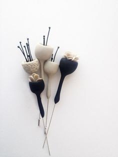 Eried - organic minimal contemporary polymer clay brooch ''bell flower with oxidized silver stymones''