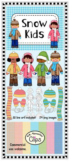 Snow Kids clip art - $ http://www.teacherspayteachers.com/Product/Clip-Art-Snow-Kids-1021149