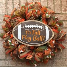 Burlap Wreath - Its Fall Play Ball Fall Wreath - Football- Wreath Fall Burlap Wreath - Deco Mesh Wreath - Front Door Decor - Welcome Wreath Its ready to hang on your front. Wreaths are not made to be in direct sunlight and should be hung under a covered area. Your wreath is
