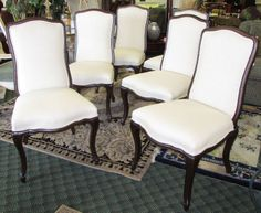 Set of 6 Palecek Ivory Linen High Back Dining Chairs