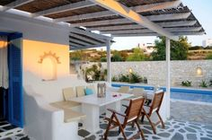 Holiday villa rental in Paros. Pool house in Paros, overlooking the bay of Agia Eirini. The villa is fully-equipped and tastefully furnished in t. Paros Island, Paradise Island, Holiday Activities, Stores, Holiday Fun, Greece, Pergola, Outdoor Structures, Villas