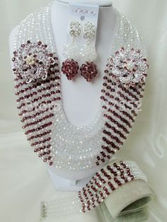 Fabulous Clear Beads Plum Purple Crystal Nigerian African Wedding Beads Jewelry Set CPS5328 $62.49