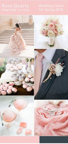 Incorporate the color of the year into your wedding. Elegant Rose Quartz wedding color ideas for Spring 2016 trends.