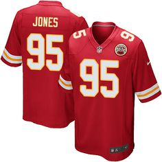 Men s Nike Kansas City Chiefs  95 Chris Jones Game Red Team Color NFL  Jersey Falcons 05ed700e6