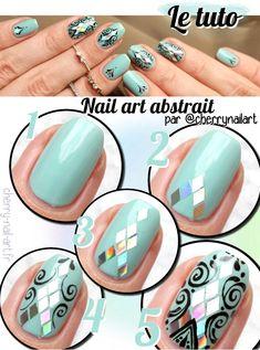 tuto nail art paillettes losanges arabesques abstrait tanya burr