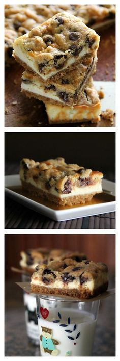 Chocolate Chip Cookie Dough Cheesecake Bar, three of the best things in dessert in one recipe, and in a bar | http://rasamalaysia.com