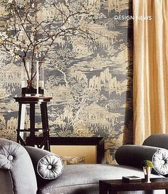 Chinoiserie toile wallpaper in Australian Vogue Living | Chinoiserie | More here: http://mylusciouslife.com/photo-galleries/a-colourful-life-colours-patterns-and-textiles/