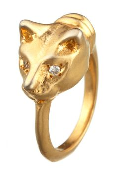 """Recycled 18kt gold with white diamonds accents  FACE: .6""""w x .5""""h  BAND: .3""""  Please allow 1-2 weeks for delivery. Hand made in NYC."""
