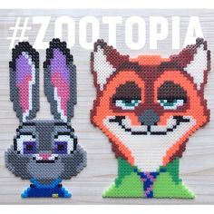 Judy and Nick - Zootopia perler beads by yeungtszching57 - Patterns: https://de.pinterest.com/pin/374291419013440559/ and https://de.pinterest.com/pin/374291419013440567/