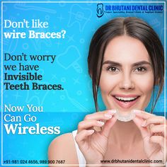 offer an esthetic, barely visible It is the best way to your smile. Bhutani Dental Clinic helps you to make a 😁 Visit for more Call ☎️ - Dental Care, Dental Health, Braces Cost, Misaligned Teeth, Invisible Braces, Teeth Braces, Best Dentist, Natural Teeth Whitening