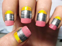 Fall manicure idea: No. 2 pencils! Pinned by Stephanie Keime; created by thedailynailblog.com.