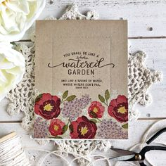 Watered Garden Card by Heather Nichols for Papertrey Ink (February packs & Kraft Stock Paper Art Projects, Craft Projects, Paper Crafts, Heather Nichols, Leaf Silhouette, Card Making Inspiration, Cool Cards, Card Templates, Christmas Cards