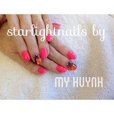 Cute nails - hot pink - palm tree