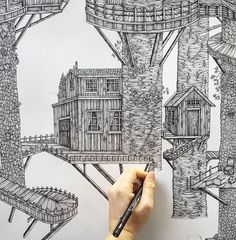 Coffee and custard creams ☕.#drawing#pen#ink#unipin#landscape#wip#studio#studiolife#draw#art#sketch#work#working#architecture#treehouse#imagination#forest#woods#closeup#detail#london#londonlife