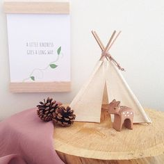 "• Thought for the day • @henry_and_arlo have teamed up one of their gorgeous mini teepees with one of my prints - ""A Little Kindness Goes A Long Way"". I'm a big believer in this...show someone a little kindness today - it will make you both feel good! [This print, together with many others, kokedama and @amalisoycandleco candles are all available online now - link in bio]"