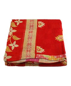 Take a look at this Red & Light Gold Kantha Sari Throw by Modelli Creations on #zulily today!