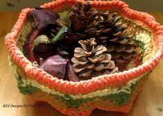 Handmade Fall Color Basket  Orange Tan Green Cream Crochet #handmadehomedecor