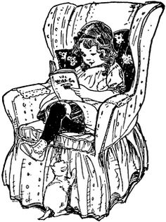 Girl Reading Book in Chair | ClipArt ETC