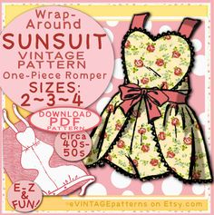 SUN SUIT Pattern 3 sizes So Sweet Wraparound One-Piece Romper Child Girl Toddler Vintage 1940 / 1950 Sunsuit baby e-pattern pdf by eVINTAGEpatterns on Etsy https://www.etsy.com/listing/240132691/sun-suit-pattern-3-sizes-so-sweet