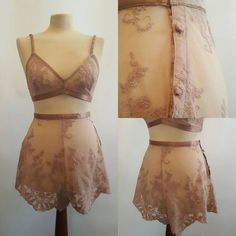 8d53bc2a49 Handmade Sheer Champagne Lace French Knickers and Bra. Hand pattern cut and  sewn in London