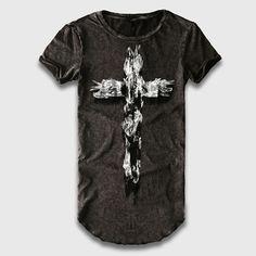 Oversize Longline T-Shirt Men Novelty Cross 3D Printed T Shirt Male O Neck Extra Long Line Tall Top Tees Loose Fit Street Wear
