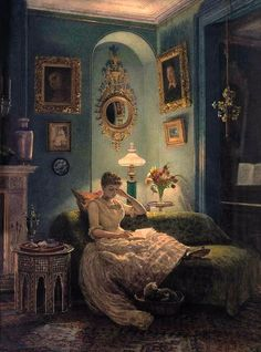 evening at home ( edward john poynter ) ~~~ how I would love to be able to read in this setting!