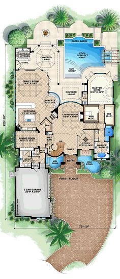 Florida Style House Plans   4928 Square Foot Home  1 Story  4     Florida Style House Plans   4928 Square Foot Home  1 Story  4 Bedroom and 1  3 Bath  3 Garage Stalls by Monster Ho          House Plans   Floor Plans
