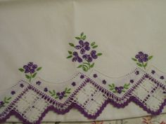 Vintage PURPLE Embroidered Pillowcase with by FabVintageEstates, $10.50