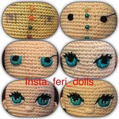 Résultats de recherche d'images pour « how to make crochet eyes for amigurumi Amigurumi Doll, Amigurumi Patterns, Doll Patterns, Knitting Patterns, Crochet Patterns, Crochet Eyes, Crochet Baby, Knit Crochet, Doll Eyes