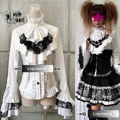 White Long Sleeve Ruffle Jabot Button Down Victorian Gothic Dress Shirt SKU-11407016