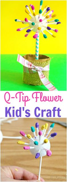 Looking for Easy Flower Crafts for Kids? Check out this adorable Q-Tip flower made with a little paint and a tissue tube flower pot, simple and cute! Cute Kids Crafts, Spring Crafts For Kids, Craft Activities For Kids, Toddler Crafts, Preschool Crafts, Diy For Kids, Camping Activities, Craft Ideas, Daycare Crafts