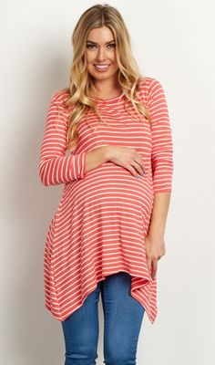 This striped maternity top will be your new favorite go-to piece this year with its soft fabric and comfortable fit. 3/4 sleeves make this top perfect to wear in any kind of weather, and a flowy asymmetric hemline gives you a stylishly feminine look. Wear this top with maternity jeans and flats for a darling everyday ensemble.