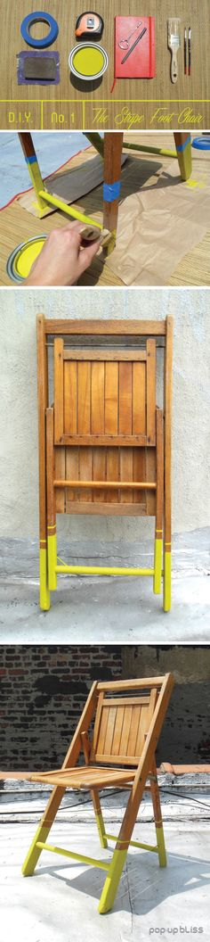 Spruce up an old folding chair with a brush of Benjamin Moore Citron!