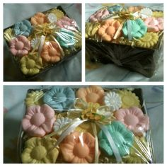 All you need is soap bars, clear plastic wrap, and stuffing. Put soap on top of stuffing inside a small container and secure with wrap. Tissue Box Crafts, Tissue Boxes, All You Need Is, Plastic Wrap, Soap Bar, Cute Photos, Stuffing, Soap Making, Diys