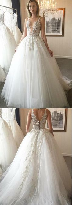 Elegant Ball Gown Round Neck Ivory Open Back Wedding Dress with Appliques,Bridal Dresses PH449,#weddingdress#ivory#openback#elegant#simple#gorgeous#bridaldress#sleeveless#unique