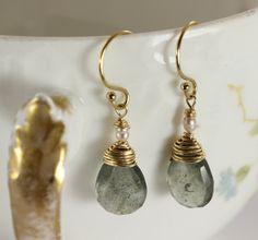 Aquamarine Earrings Gold Earrings Birthstone Earrings by julwelry, $43.00