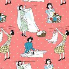 Laundry Days 1/2 Yard RARE RETRO Laundry fabric by by HappyFabrics,