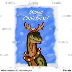 Veloci-reindeer Card #dinosaurs #velociraptor #raptor #christmas #holidays