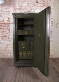 """Vintage Safe / Storage Cabinet.    Vintage Safe with Brass Hardware, Seven Storage Drawers Inside. 31 1/2"""" x 29 1/2"""" x 65"""".    So cool, I had to pin!"""