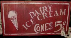 Distressed vintage inspired ice cream advertising by ATouchofChic, $25.00