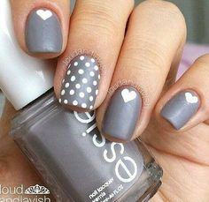 Grey and white nails