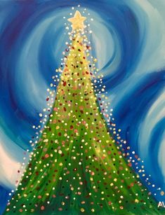 Christmas Tree Canvas, Christmas Paintings On Canvas, Christmas Tree Drawing, Cute Canvas Paintings, Dot Art Painting, Painting For Kids, Diy Painting, Art For Kids, Christmas Art Projects